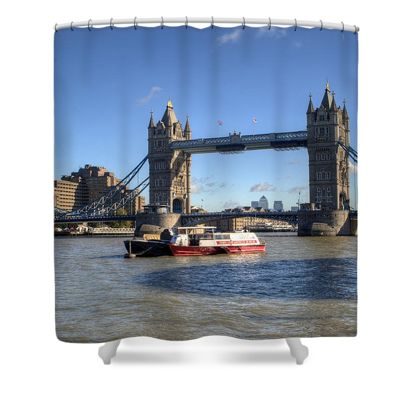Tower Bridge Shower Curtain featuring the photograph Tower Bridge With Canary Wharf In The Background by Chris Day