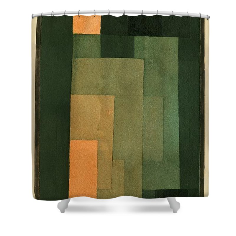 Paul Klee Shower Curtain Featuring The Painting Tower In Orange And Green By