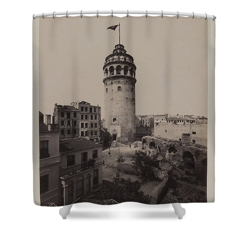 Pascal S�bah (turkish Shower Curtain featuring the painting Tower Of Galata, by MotionAge Designs