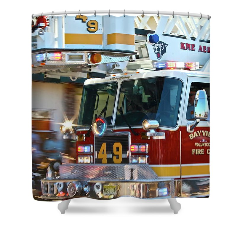 Fire Truck Shower Curtain featuring the photograph Tower by Rick Monyahan