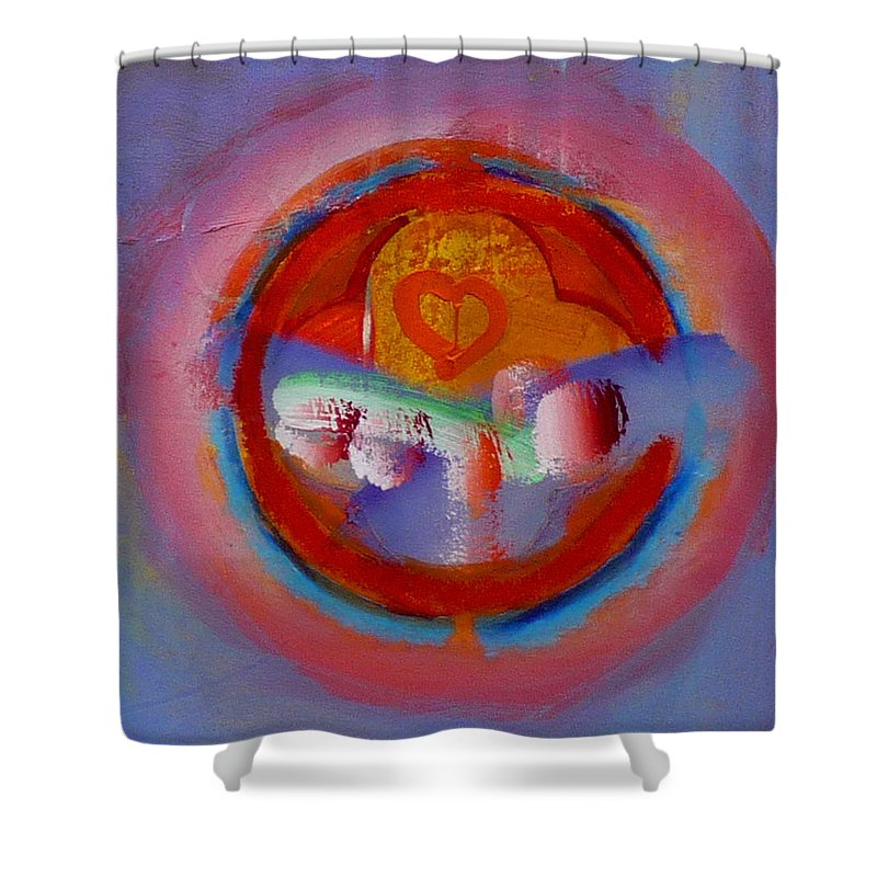 Logo Shower Curtain featuring the painting Towers In The Mist by Charles Stuart
