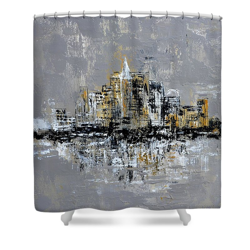 Landscape Shower Curtain featuring the painting Town Line by Pol Ledent