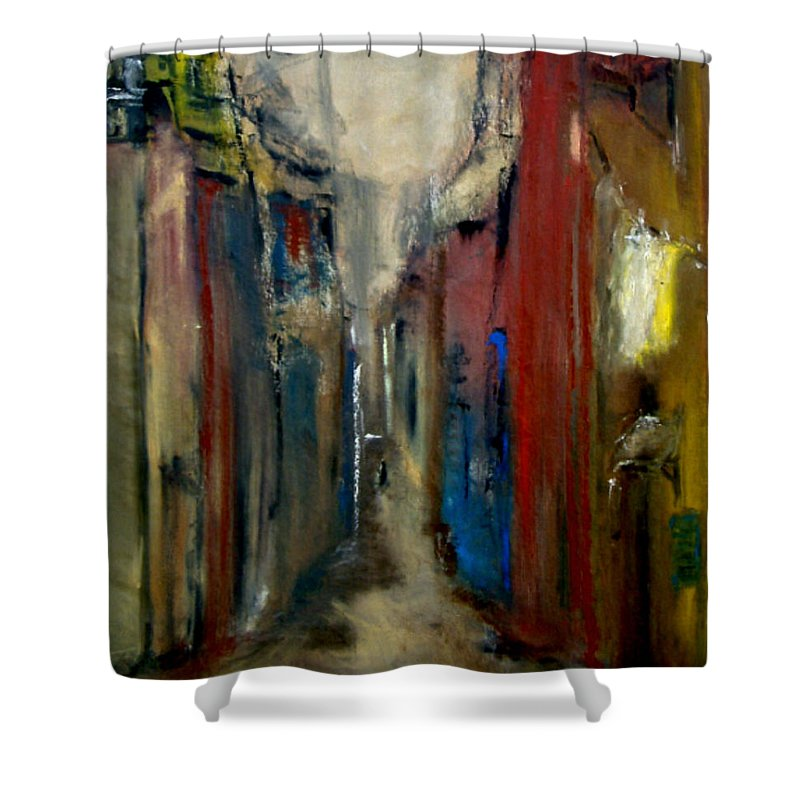 Abstract Shower Curtain featuring the painting Town by Rome Matikonyte