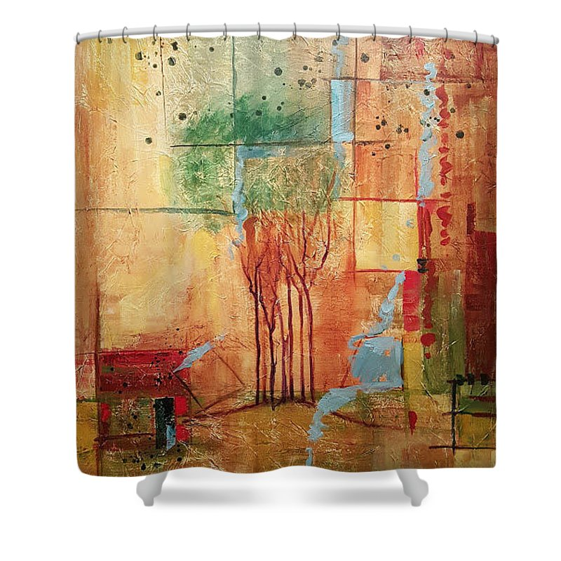 Treeline Abstract Shower Curtain featuring the painting Town Square by Ginger Concepcion