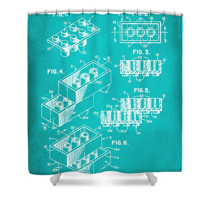 Patent Shower Curtain featuring the mixed media Toy Building Brick Patent Drawing 1d by Brian Reaves