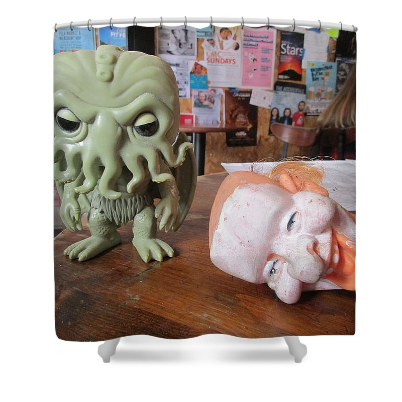 Cthulhu Shower Curtain Featuring The Photograph Toy And Clown Head By David Lovins