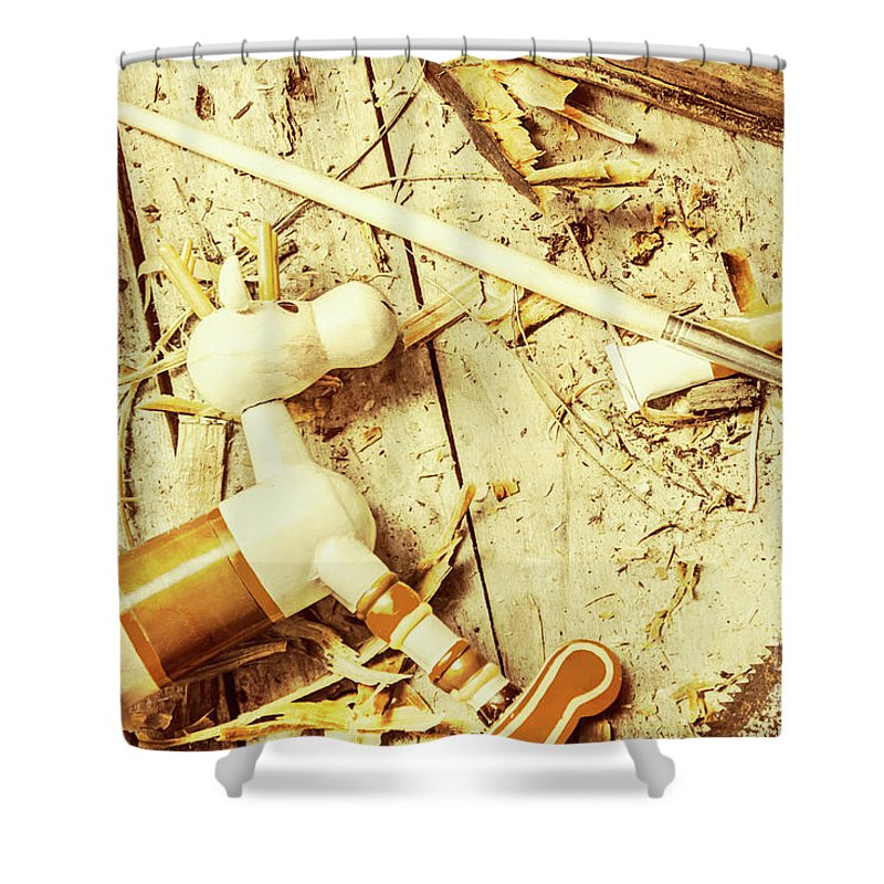 Christmas Shower Curtain featuring the photograph Toy Making At Santas Workshop by Jorgo Photography - Wall Art Gallery