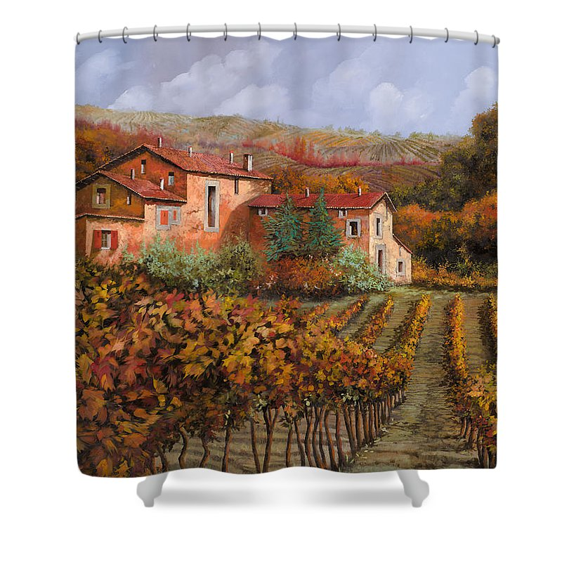 Wine Shower Curtain featuring the painting tra le vigne a Montalcino by Guido Borelli