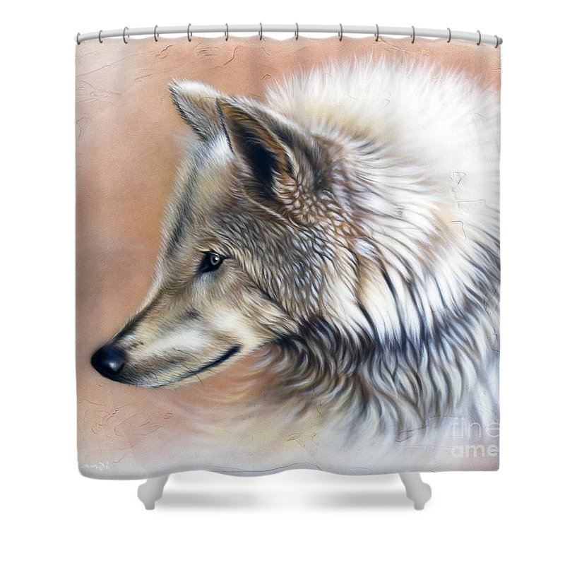 Wolves Shower Curtain featuring the painting Trace IIi by Sandi Baker