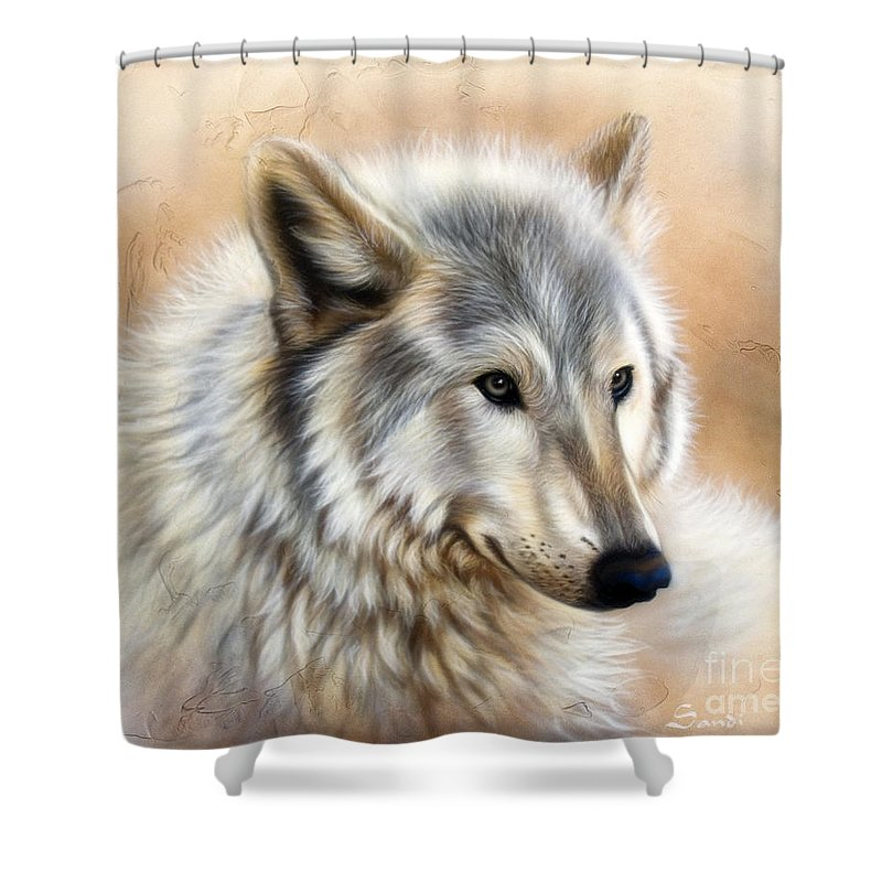 Acrylic Shower Curtain featuring the painting Trace by Sandi Baker
