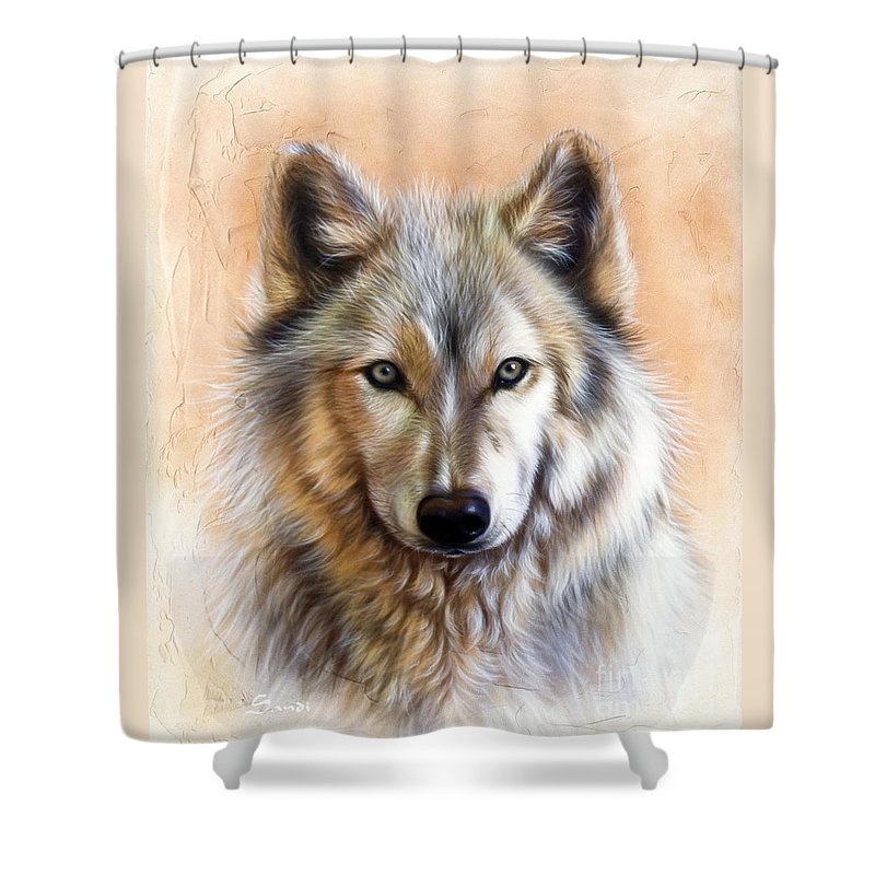 Wolves Shower Curtain featuring the painting Trace Two by Sandi Baker