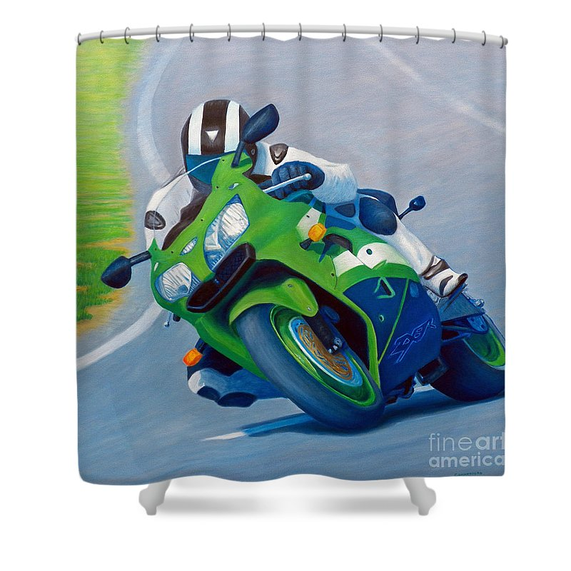 Motorcycle Shower Curtain featuring the painting Track Day - Kawasaki ZX9 by Brian Commerford