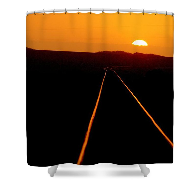 Train Track Shower Curtain featuring the photograph Tracks Of My Tears by Lynn Andrews
