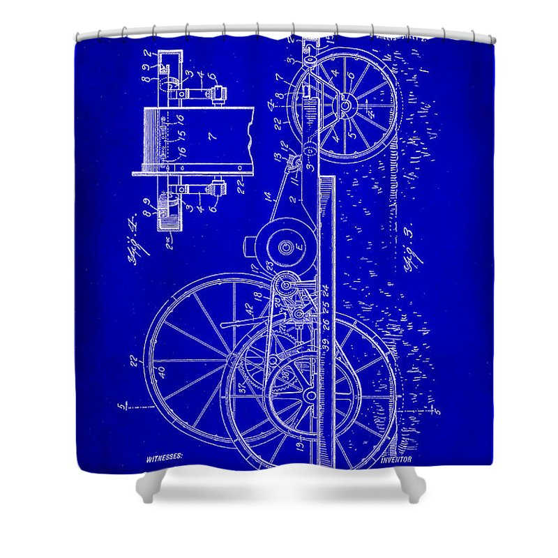 Patent Shower Curtain featuring the mixed media Tractor Patent Drawing 1h by Brian Reaves