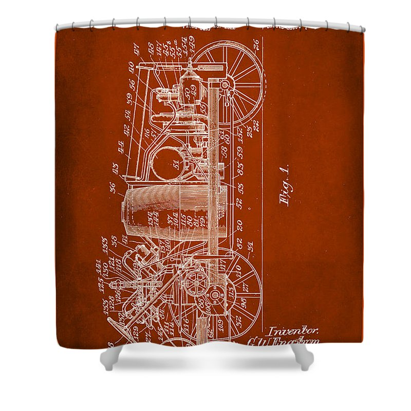 Patent Shower Curtain featuring the mixed media Tractor Patent Drawing 2b by Brian Reaves