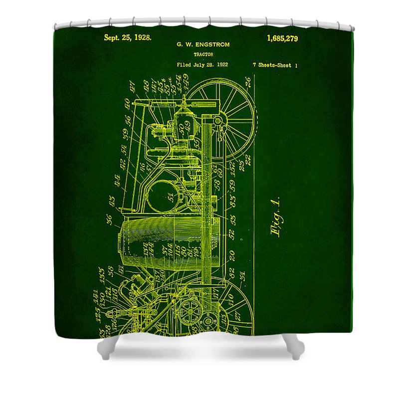 Patent Shower Curtain featuring the mixed media Tractor Patent Drawing 2e by Brian Reaves