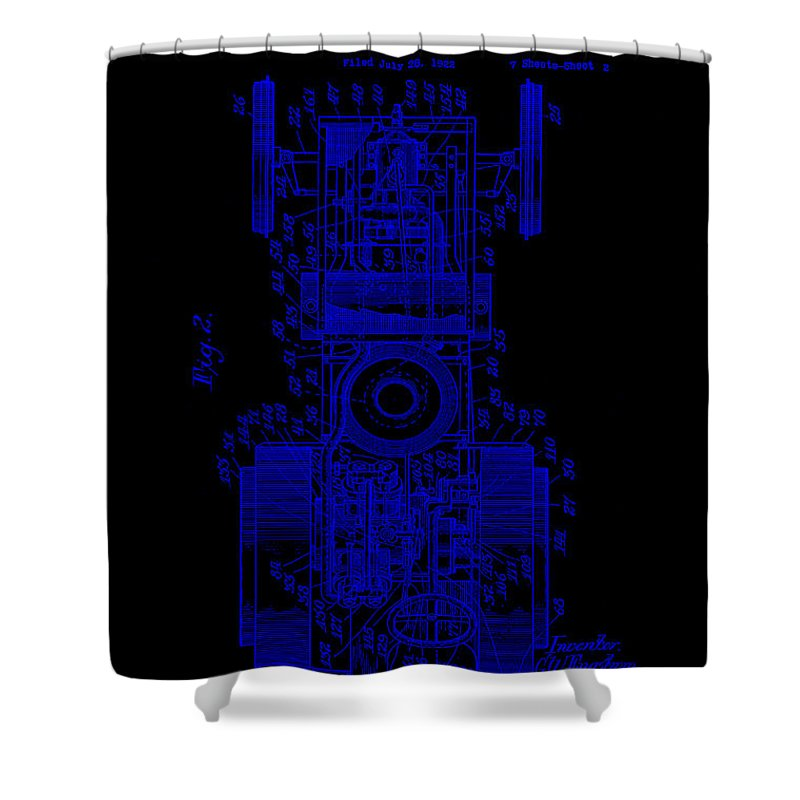 Patent Shower Curtain featuring the mixed media Tractor Patent Drawing 3g by Brian Reaves