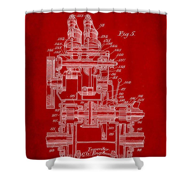 Patent Shower Curtain featuring the mixed media Tractor Patent Drawing 5d by Brian Reaves