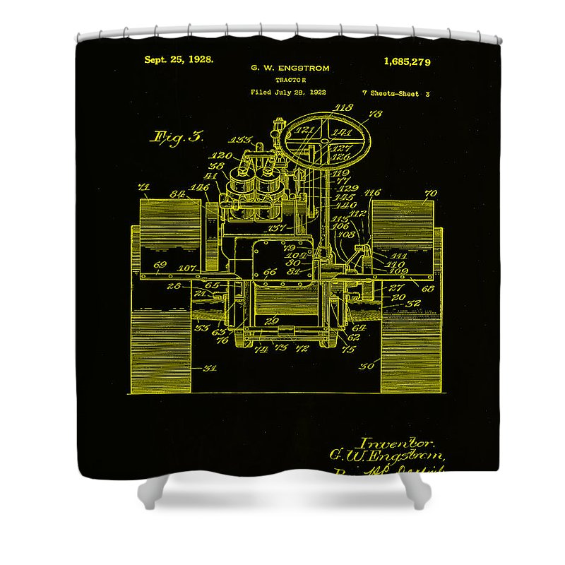 Patent Shower Curtain featuring the mixed media Tractor Patent Drawing 5h by Brian Reaves