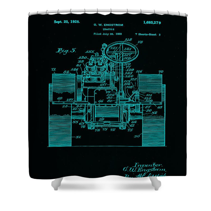 Patent Shower Curtain featuring the mixed media Tractor Patent Drawing 5i by Brian Reaves