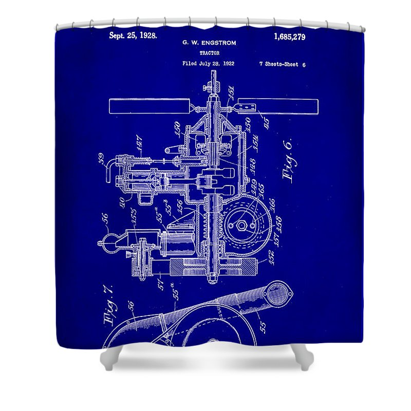 Patent Shower Curtain featuring the mixed media Tractor Patent Drawing 6a by Brian Reaves