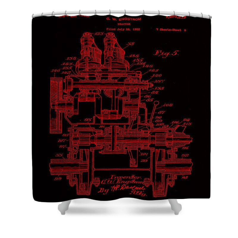 Patent Shower Curtain featuring the mixed media Tractor Patent Drawing 7j by Brian Reaves
