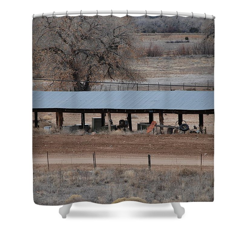 Architecture Shower Curtain featuring the photograph Tractor Port On The Ranch by Rob Hans