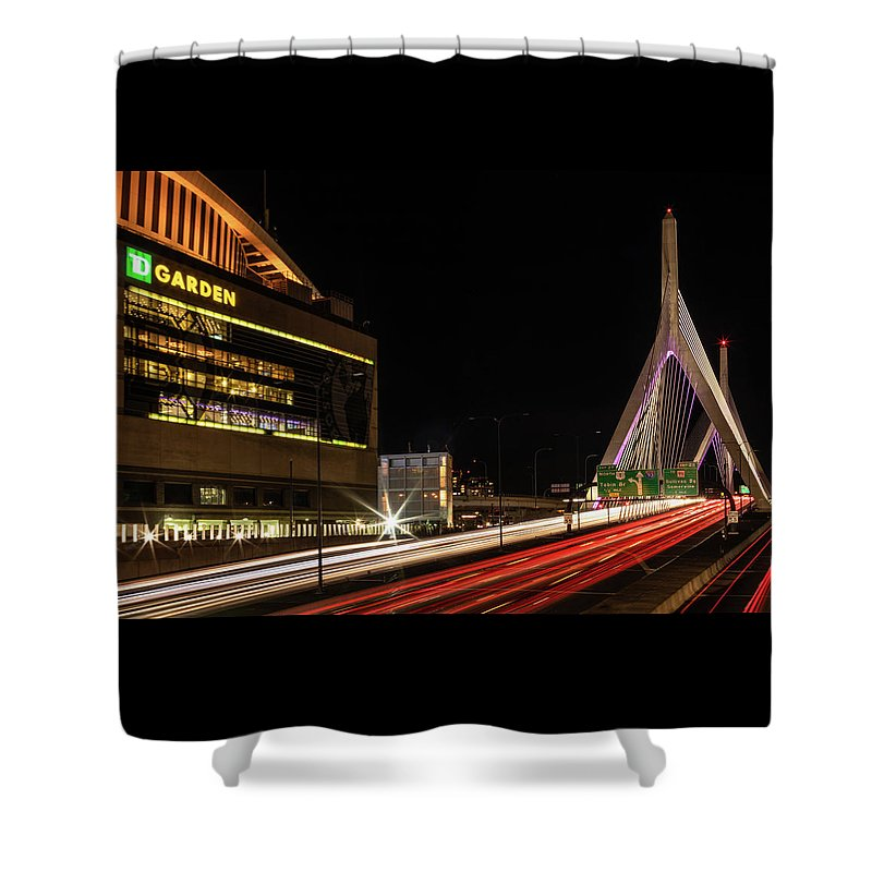 Boston Shower Curtain featuring the photograph Traffic Racing Over Zakim Bridge by Kristen Wilkinson