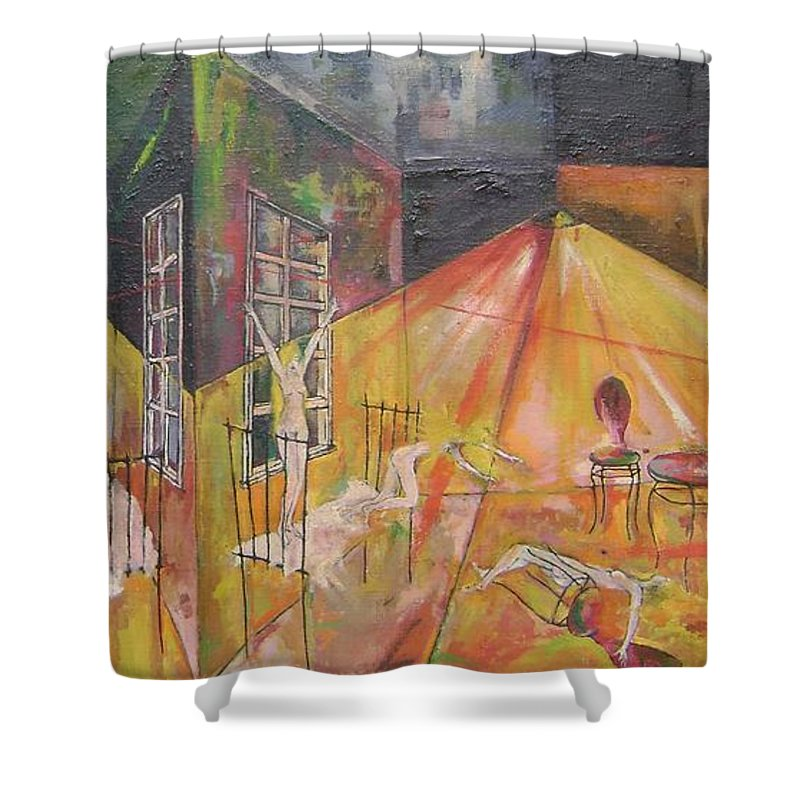 Colour Shower Curtain featuring the painting Tragedy Of Loneliness by Wojtek Kowalski