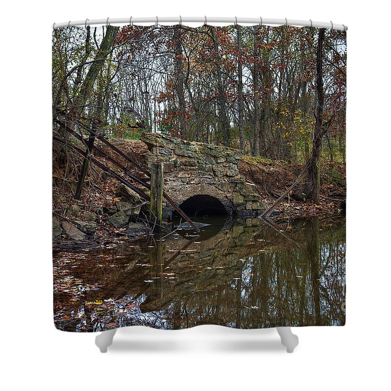 2013 Shower Curtain featuring the photograph Trail Bridge by Larry Braun