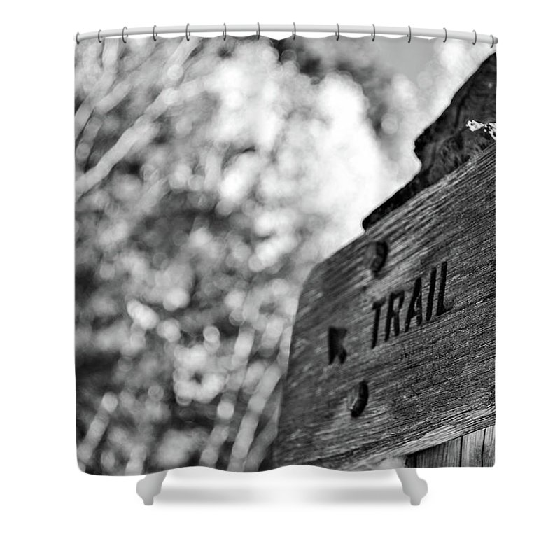Black And White Shower Curtain featuring the photograph Trail by Meg Bothe