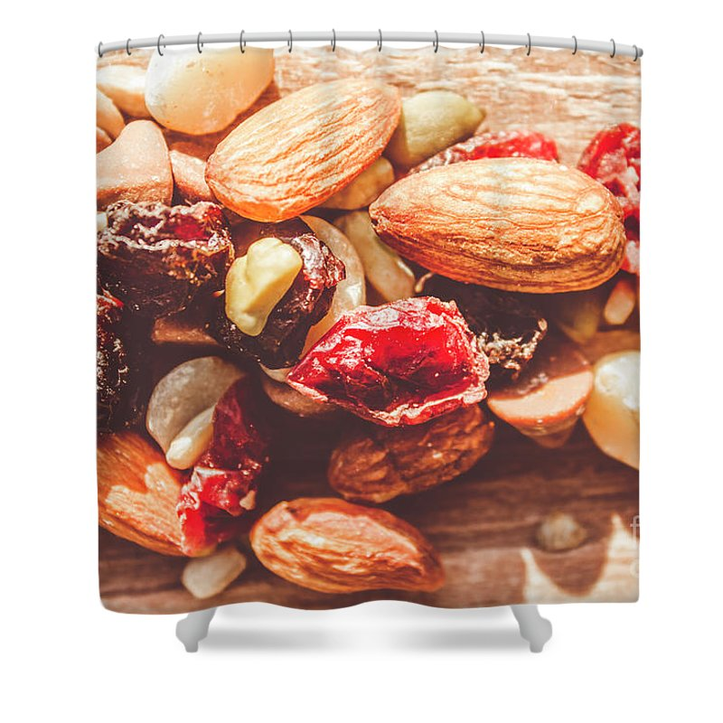Almond Shower Curtain featuring the photograph Trail Mix High-energy Snack Food Background by Jorgo Photography - Wall Art Gallery