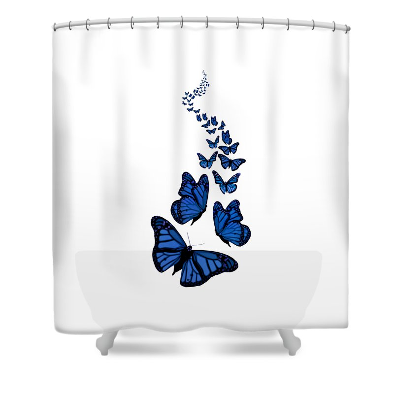 Blue Butterflies Shower Curtain Featuring The Digital Art Trail Of Transparent Background By