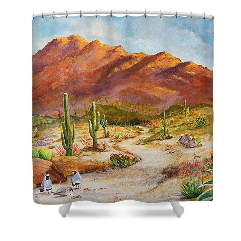 Desert Scene Shower Curtain featuring the painting Trail To The San Tans by Marilyn Smith