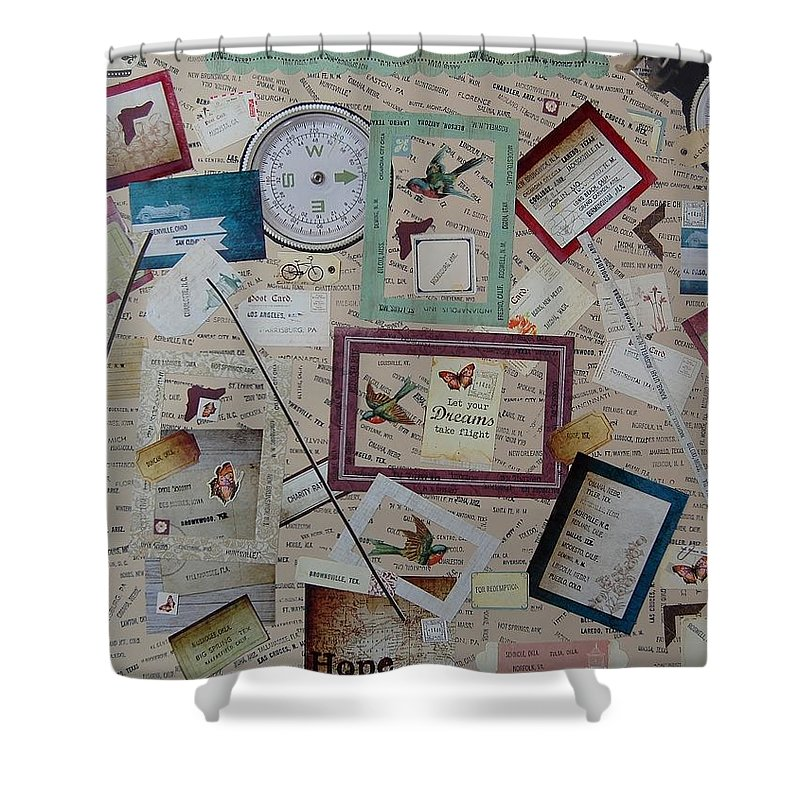 Paper Shower Curtain featuring the mixed media Trailways Cities by Charla Van Vlack