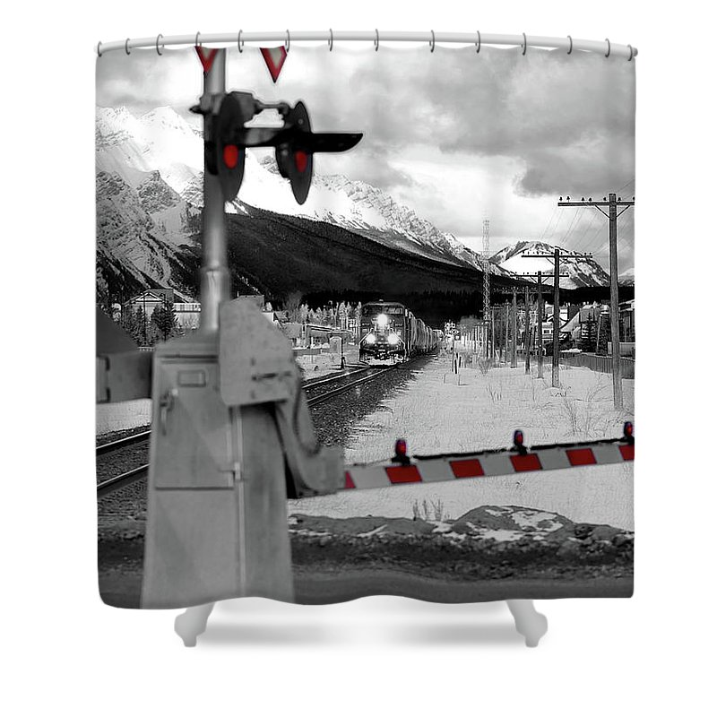 Canmore Shower Curtain featuring the photograph Train A Comin by Lisa Knechtel