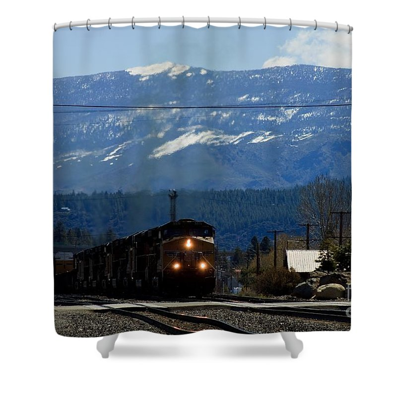 Train Shower Curtain featuring the photograph Train Entering Truckee California by Thomas Marchessault