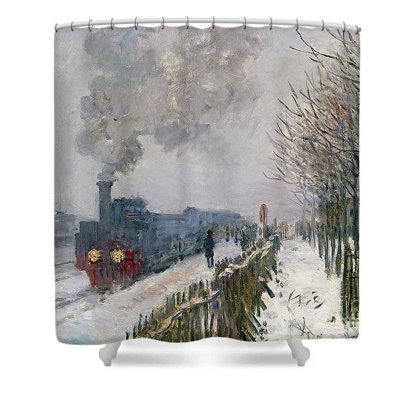 Train Shower Curtain featuring the painting Train In The Snow Or The Locomotive by Claude Monet
