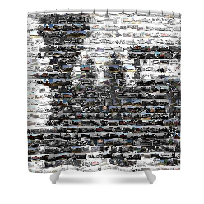 Silhouette Shower Curtain featuring the mixed media Train Mosaic by Paul Van Scott
