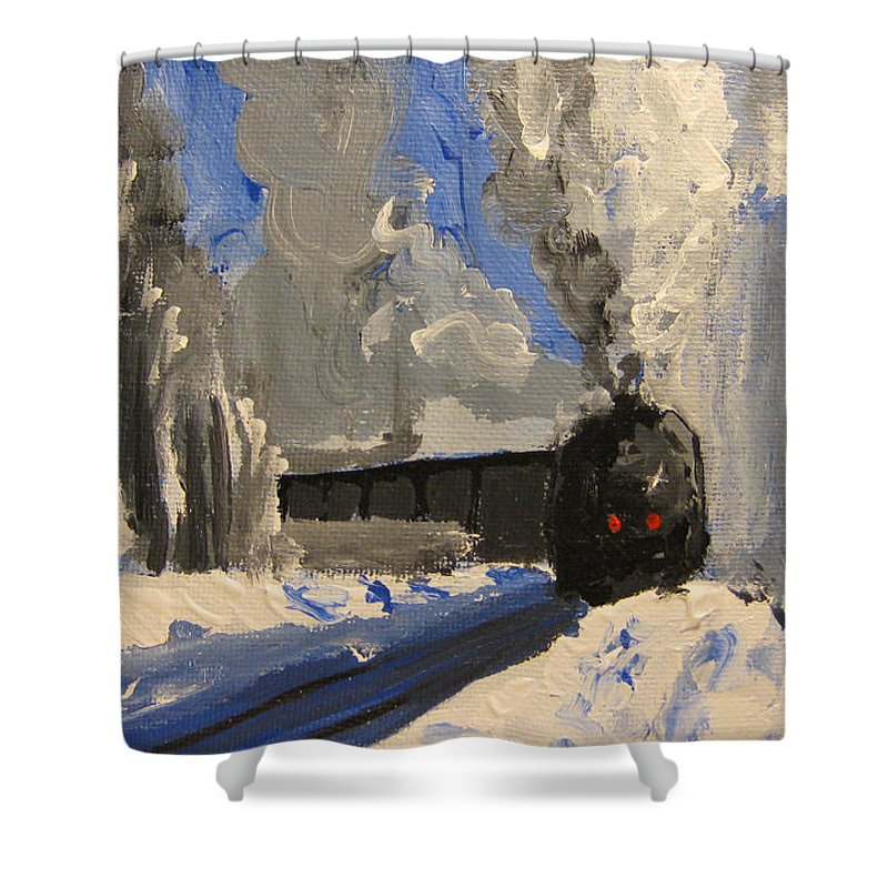 Landscape Shower Curtain featuring the painting Train by Patricia Awapara
