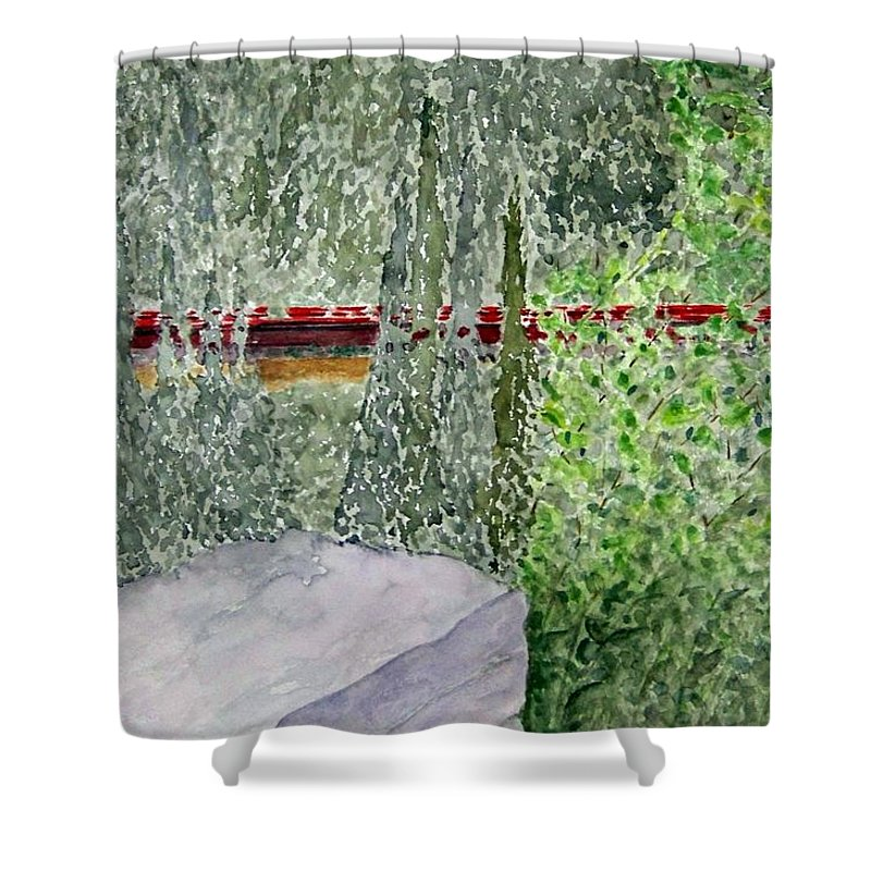 Train Art Shower Curtain featuring the painting Train Spotting by Larry Wright
