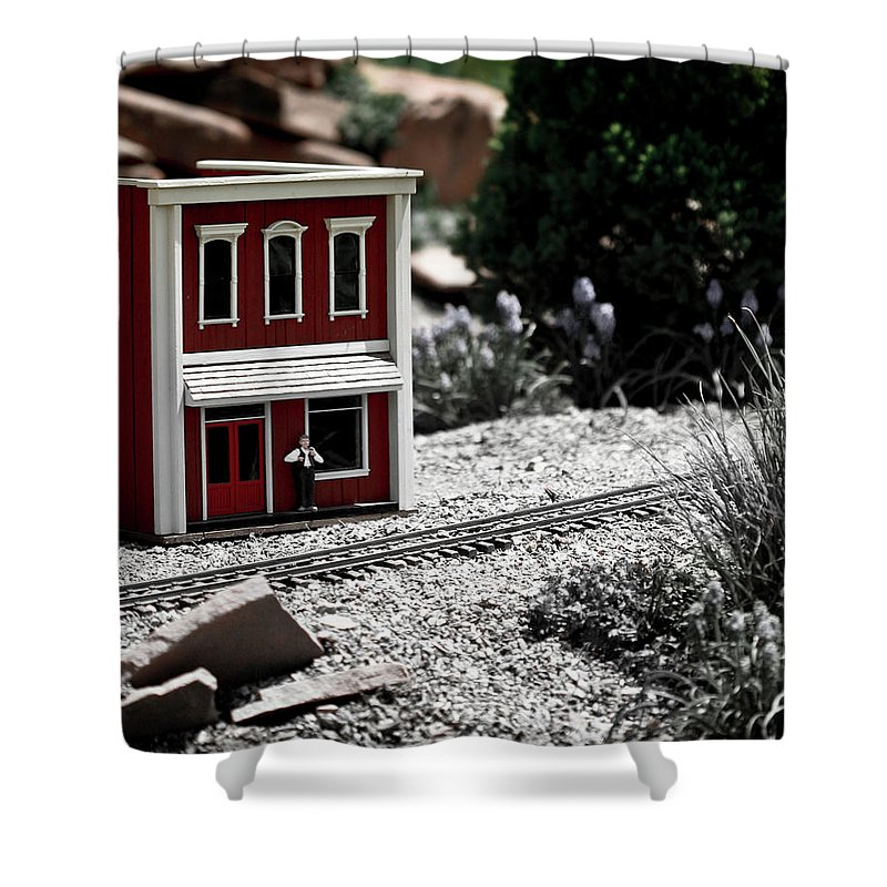 Train Shower Curtain featuring the photograph Train Station by Marilyn Hunt