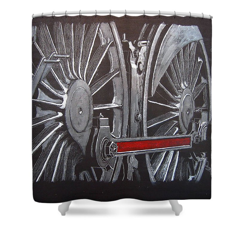 Trains Shower Curtain featuring the painting Train Wheels 1 by Richard Le Page