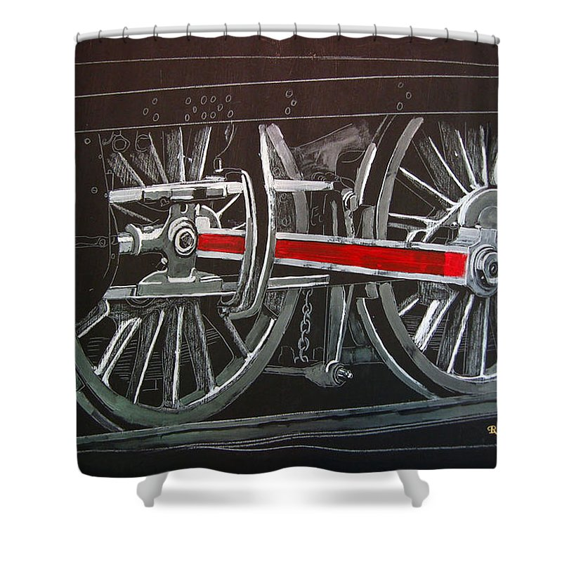 Trains Shower Curtain featuring the painting Train Wheels 4 by Richard Le Page