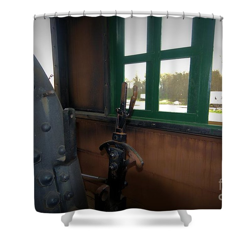 Train Shower Curtain featuring the photograph Trains 5 Vign by Jay Mann