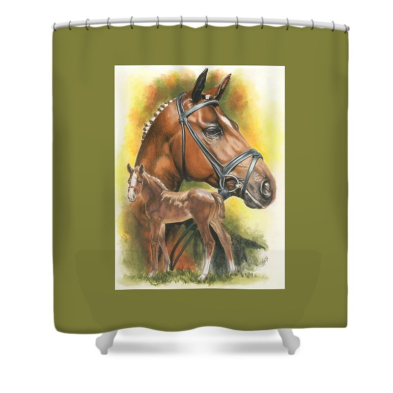 Jumper Hunter Shower Curtain featuring the mixed media Trakehner by Barbara Keith