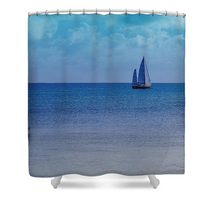 Water Shower Curtain featuring the photograph Tranquil Blue by Debbi Granruth
