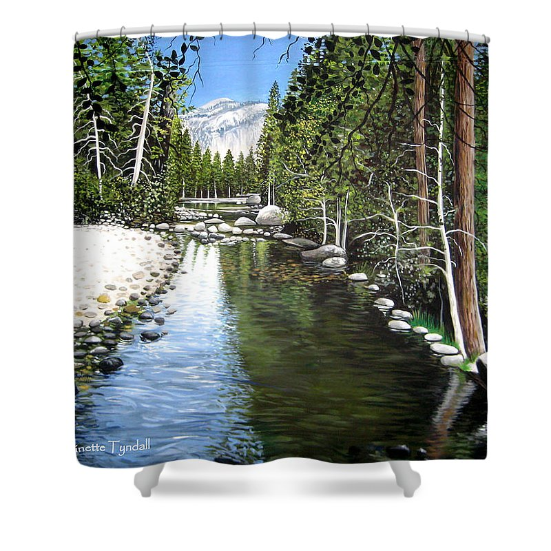 Trees Shower Curtain featuring the painting Tranquil Forest by Elizabeth Robinette Tyndall