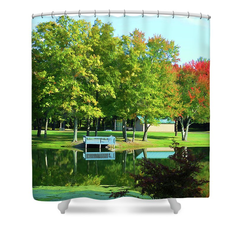 Tranquil Landscape At A Lake Shower Curtain featuring the painting Tranquil Landscape At A Lake 4 by Jeelan Clark