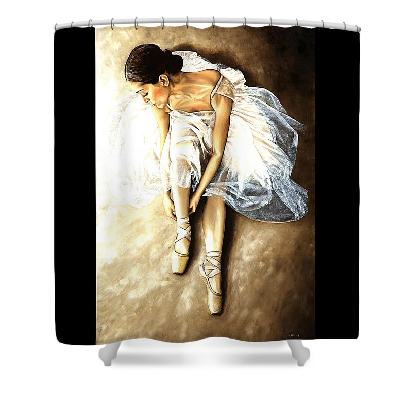 Ballet Shower Curtain featuring the painting Tranquil Preparation by Richard Young